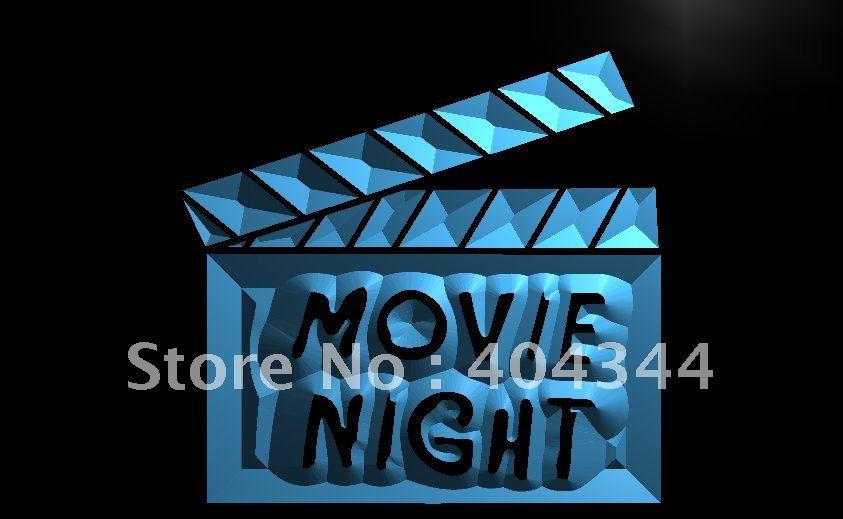 LB707-película noche cine Bar cerveza letrero de neón con luz LED