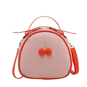 Mini Small Messenger Bags for Teenage Girls Women ShoulderBags Cute PU Leather Lovely Cherry Purse Ladies Mochilas Mujer 2019