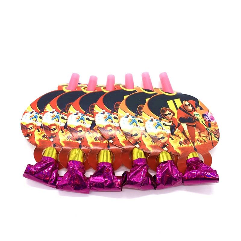 Novo o tema incredibles 6 pçs/lote dos desenhos animados soprando dragão noise maker criança menina festa de aniversário brinquedo tema festa blowout fornecimento