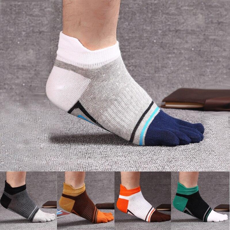 10 pçs = 5 pares homens meias moda nova algodão cinco dedos toe meias cor mosaico desodorante negócios casual europa meias selvagens