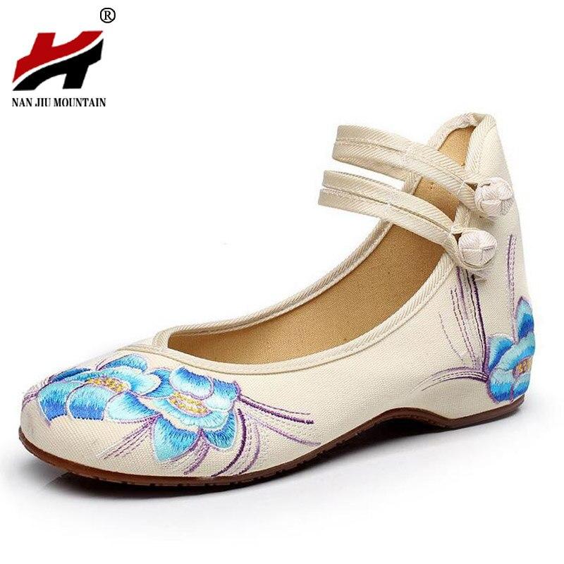 Peking mary jane flat heel denim flats com sola macia sapatos femininos de dança casuais
