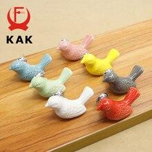 KAK-poignées de meuble en céramique, 5 pièces, boutons de tiroir en forme doiseau de dessin animé, de placard, poignées de meubles nouveauté à la mode