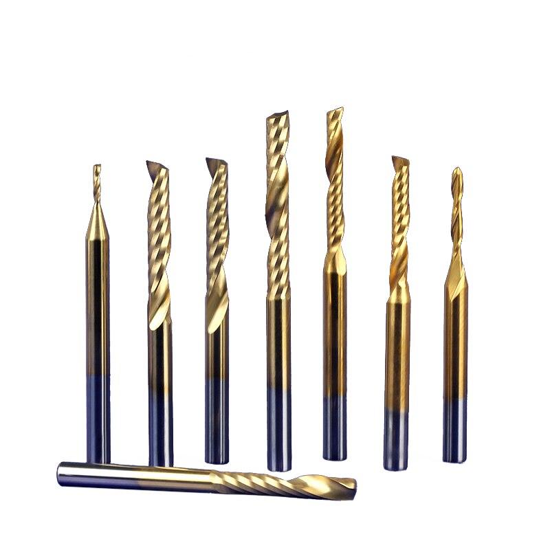 10 pçs 3.175 shank tin revestimento tiain carboneto de pvc único flauta espiral bits ferramentas cnc máquina fresa faca