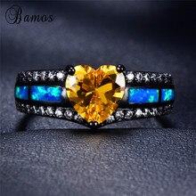 Bague en opale de feu coeur multicolore Bamos pour femmes hommes rouge/bleu/vert bague CZ or noir bijoux Hiphop bague de naissance