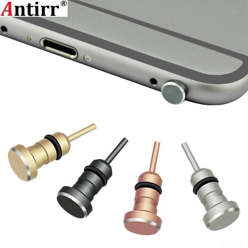 Antirr de Metal 2 en 1 teléfono bandeja de tarjeta SIM expulsar Pin de la herramienta 3,5mm para auriculares Jack tapón anti polvo a prueba de polvo tapa para Apple iPhone xiaomi