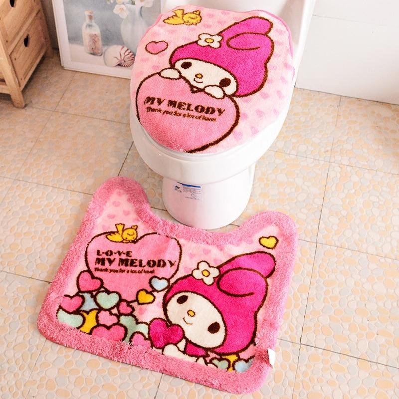 Hello Kitty/Melody Bathroom Plush Toilet Set Cover WC Seat Cover Bath Mat Closestool Lid Cover 3pcs/Set Toilet Seat Cushion Ring