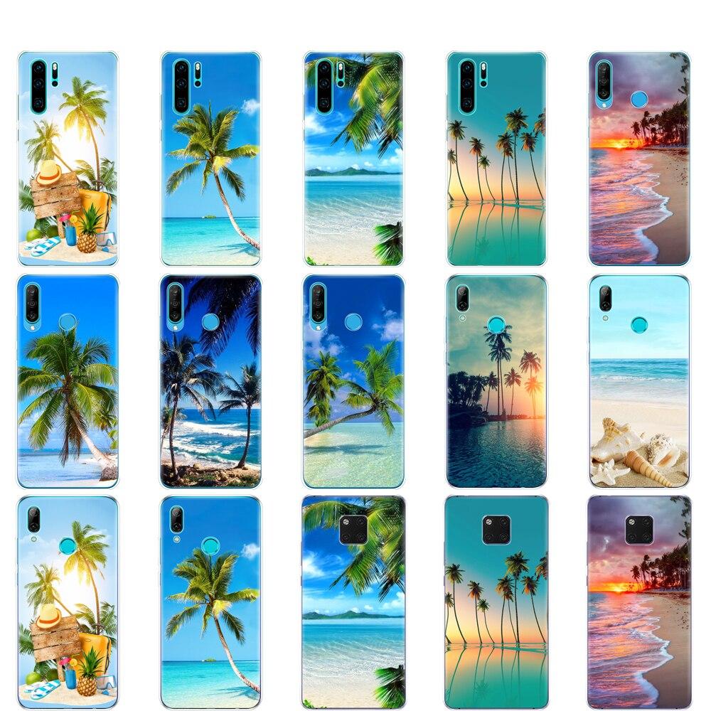 Funda trasera para huawei P30 PRO LITE para huawei mate 20 pro lite p smart 2019 plus verano playa escena puesta de sol en mar palmera