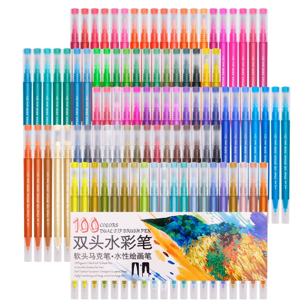 Pincel de doble cabezal Fineliner rotuladores de acuarela conjunto de dibujo profesional para niños, para Graffiti Manga dibujo artístico rotuladores Set