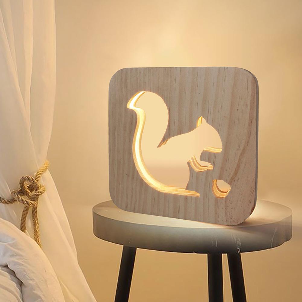 Bonita lámpara LED de madera tallada con ardilla para la noche, lámpara de mesa, decoración para sala de estar 2019
