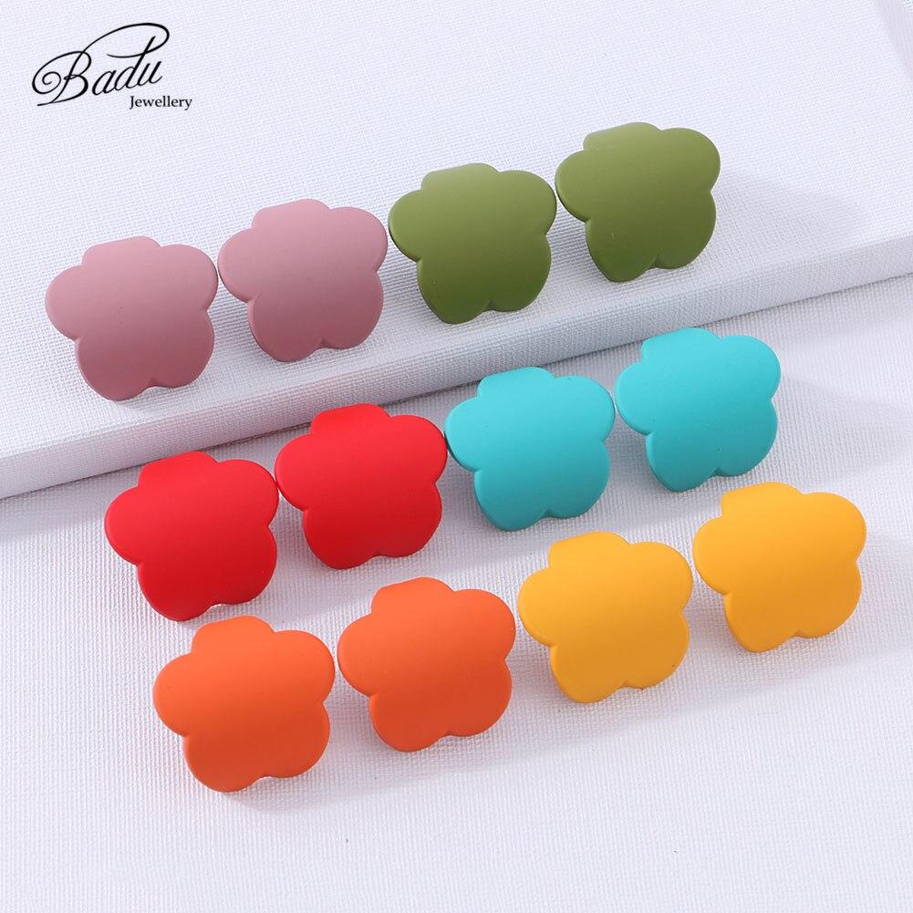 Badu 2019 Charm Women Flower Stud Earrings Small Fashion Statement Trendy Plastic Earrings 1 Pair Summer Jewelry for Girls Gift
