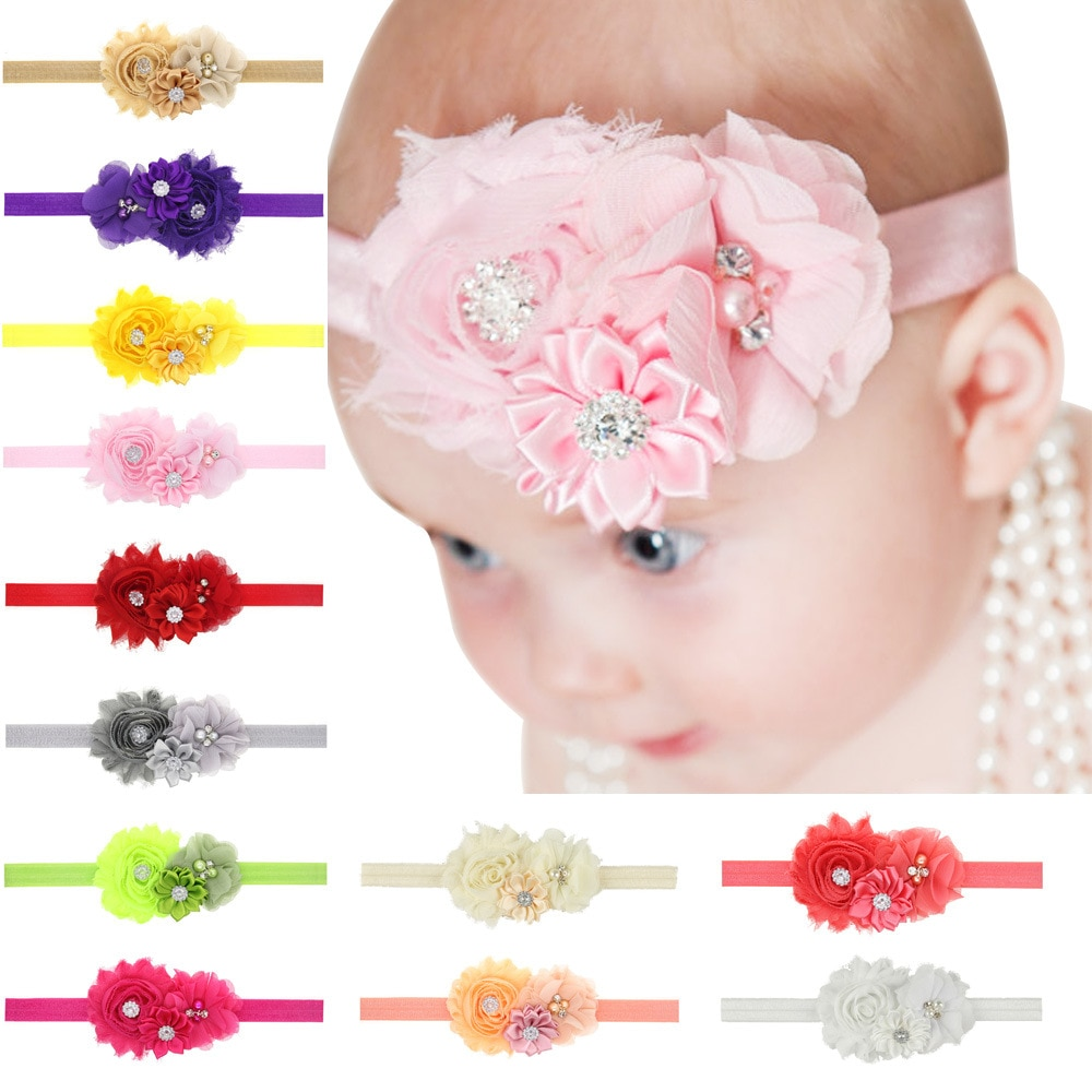 baby girl headband Infant hair floral cloth Tie bows newborn Headwear tiara headwrap Gift Toddlers bandage flower crystal Ribbon