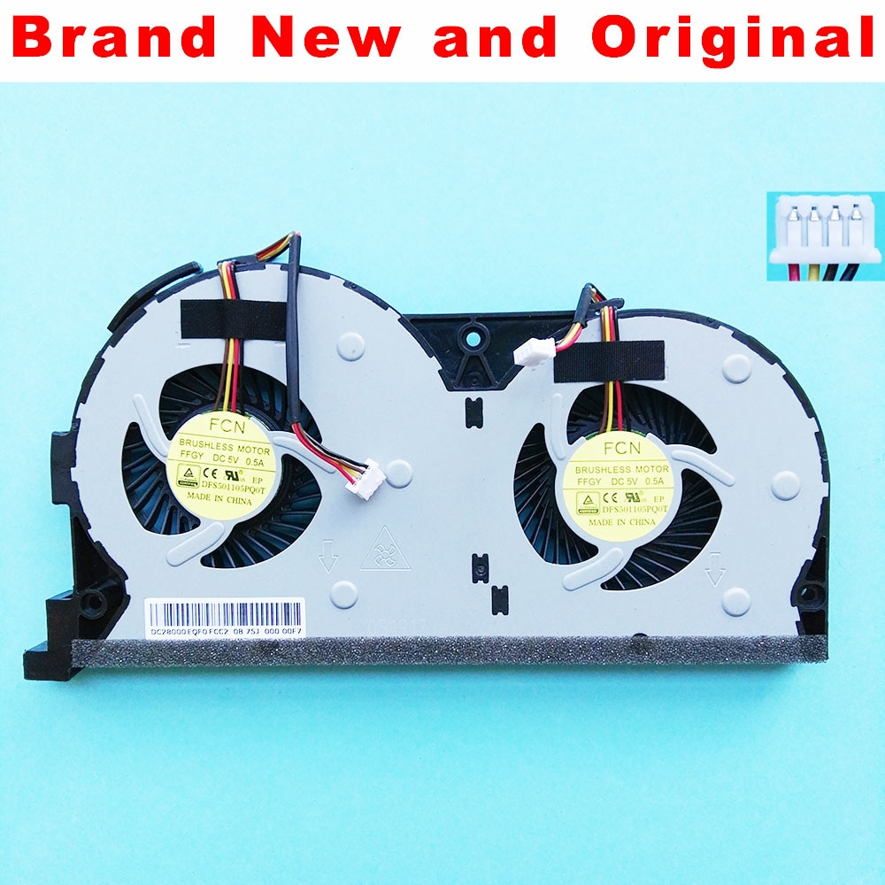Новый оригинальный вентилятор охлаждения процессора для Lenovo Y50-70AS, Y50, Y50-70AM, Y50-50, Y50-70, кулер для процессора, DFS501105PQ0T, FFGY