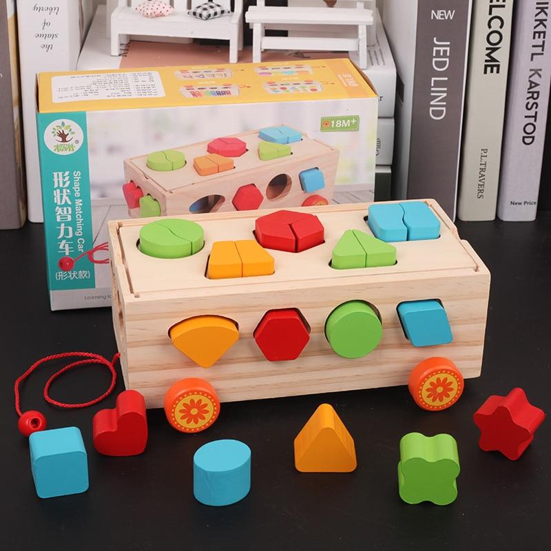 Juego de bloques de aprendizaje para bebés, juguete educativo de madera con 17 agujeros, geometría/caja de inteligencia con forma Digital, juego de cubos de Aprendizaje Temprano