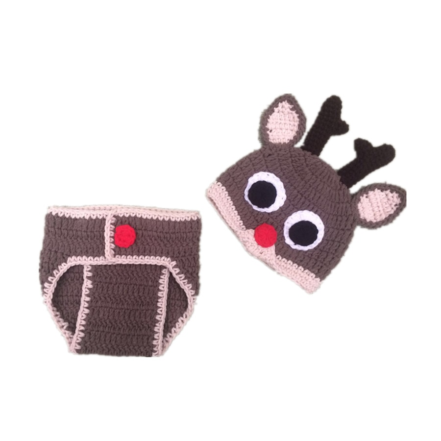 Hand-woven baby wool hat and baby diaper suit Christmas reindeer boys photo gift