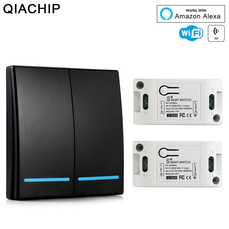 QIACHIP Universal Wifi Wall Switch 433 Mhz Wireless Remote Control Domotica Light Smart Home RF Relay Module Work With Alexa DIY