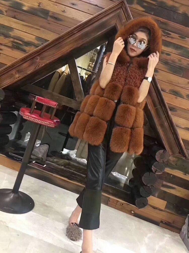 Chaleco de piel de zorro real con capucha de Invierno para mujer chaqueta de pelo de cordero versión coreana