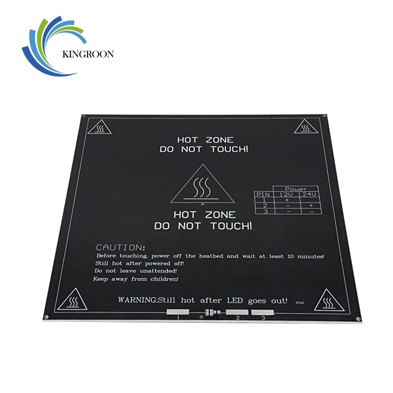 MK3 cama caliente 12V 24V piezas negras termoselladas caliente 3D Piezas de impresora calor 214mm x 214mm placa de aluminio 3mm accesorios PCB 1