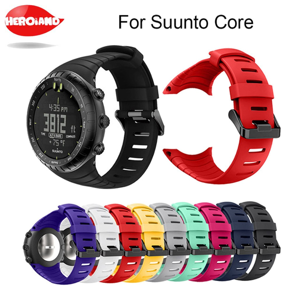 Brand new and high quality silicone watch strap For Suunto Core replace watch band wristband watch b