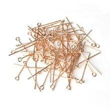 200 pièces/lot 50mm couleur or Rose épingle à tête oeil épingles à tête plate en métal aiguilles bricolage fabrication de bijoux résultats 0.7mm (21 jauge) F117