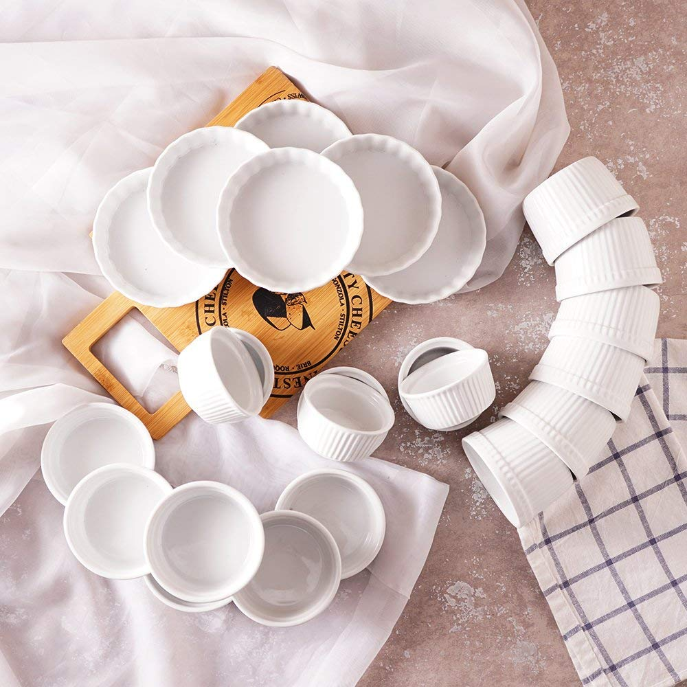 Porcelaine Ramekins Ceramic Ramekins Porcelain Souffle Cup Pudding Mold Muffin Baking Cup Pack of 6