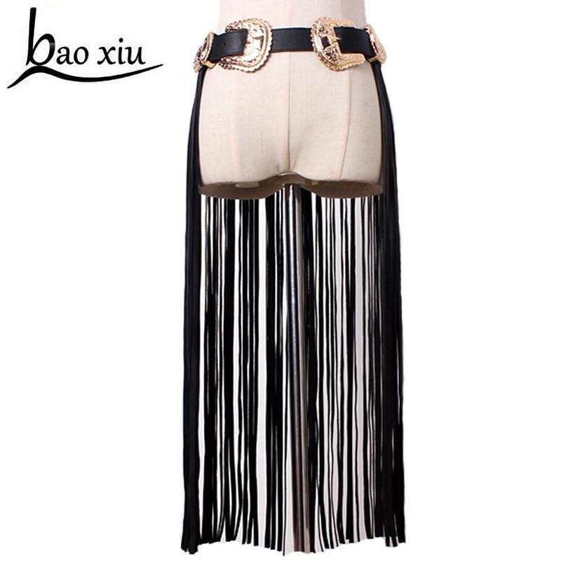 ¡Novedad! cinturones con borlas de cuero y doble hebilla de Metal para mujer, cinturón de cuero sintético negro con flecos, cinturón de cuero para señora, de cintura alta, largo para mujer