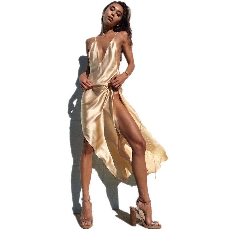 Женское шелковое платье без рукавов, длинное сатиновое платье на тонких бретельках с открытой спиной и глубоким треугольным вырезом для ве...