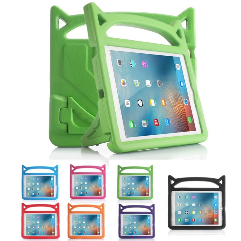 Para iPad Air A1474 A1475 A1476 funda encantadora Oreja de Gato niños no tóxico EVA a prueba de golpes soporte fundas para iPad 5 Coque Capa