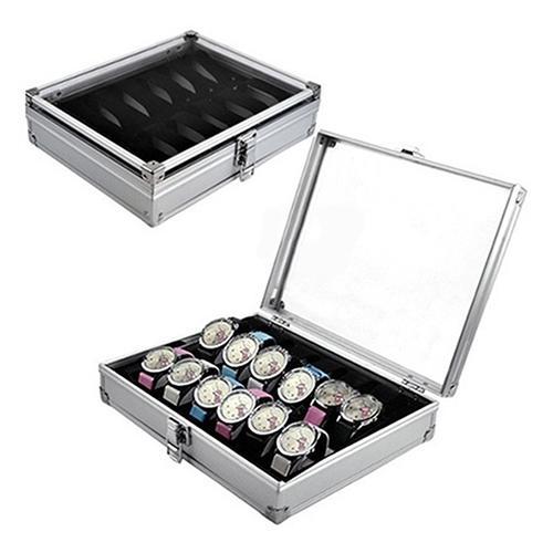 High Quality Metal case 6/12 Grid Slots Wrist Watch Display case Storage Holder Organizer Watch Case