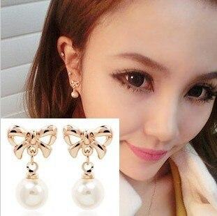 Não perfurado feminino indolor orelha clipe brincos coreano feminino arco pérola orelha clipe