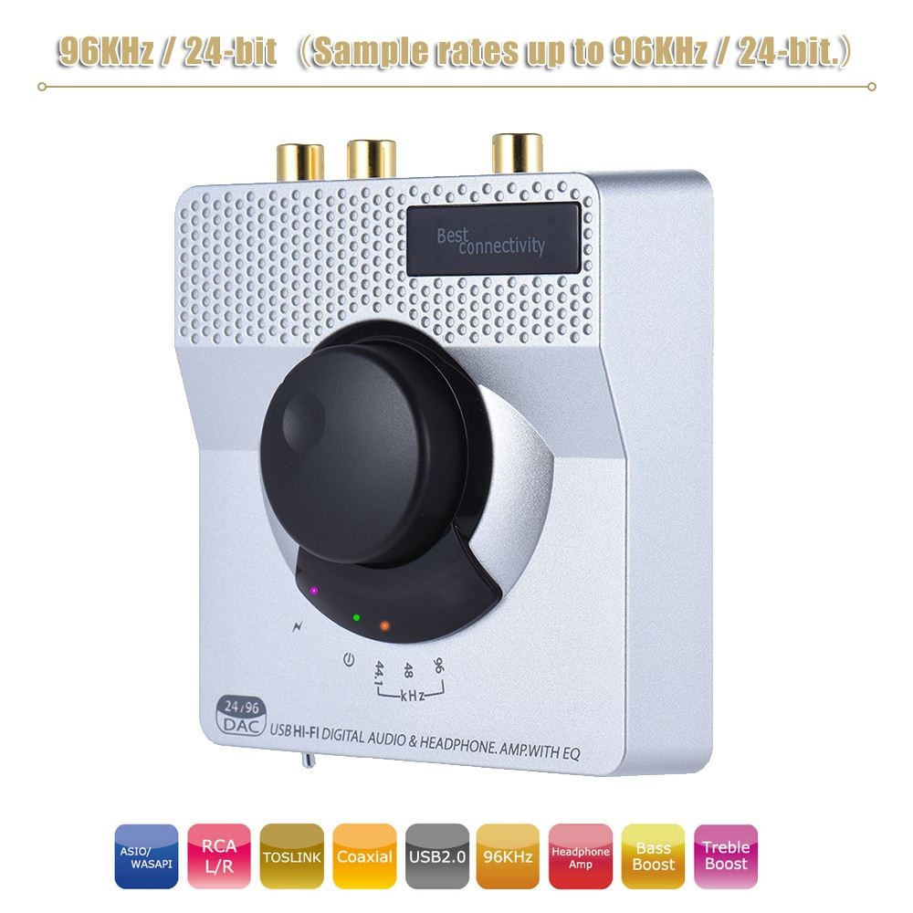 Portátil de Alta Fidelidade 96 KHz/24-bit DAC USB Decodificador de Áudio Conversor Digital para Anolog Stereo Headphone Amplifier com EQ