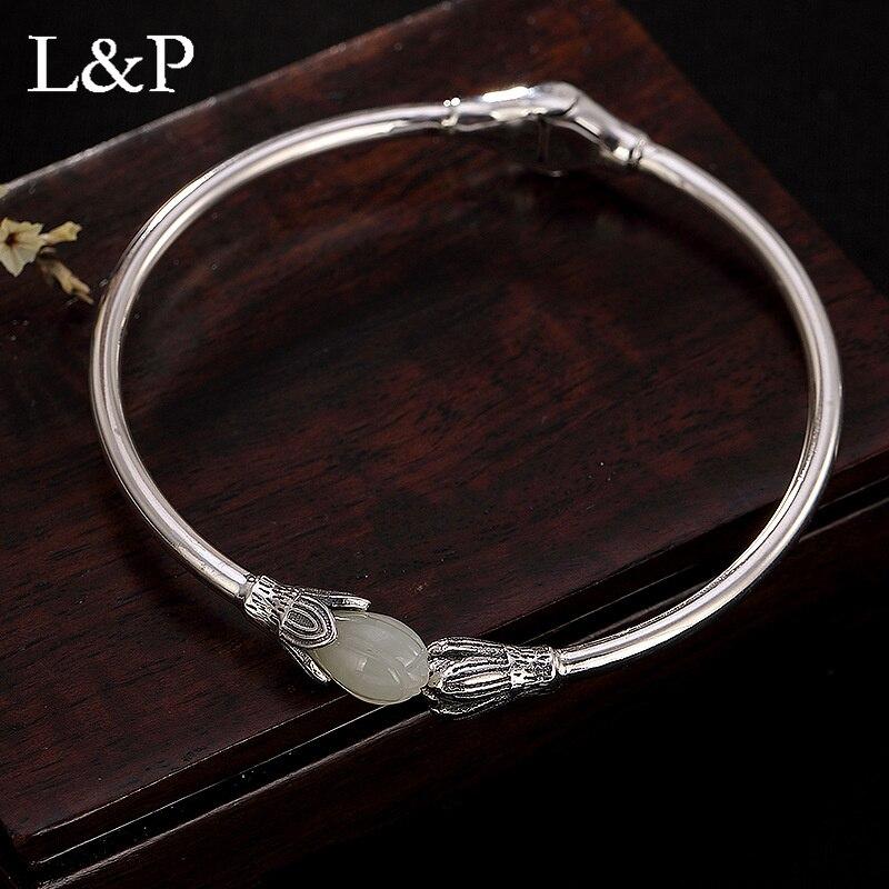 L & P delicada auténtica pulsera de plata de ley 925 con encanto para mujer, accesorios Vintage de Jade Natural, Envío Gratis