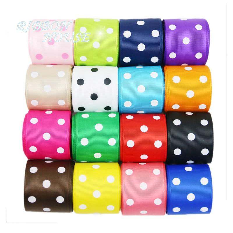 (10 yards/lot)   38mm Cartoon Polka Dots Printed Grosgrain Ribbon  DIY headwear party decoration wholesale gift wrapping ribbon