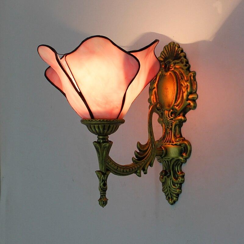 Купить с кэшбэком Artpad Baroque Vintage Turkish Wall Lamp Bedroom Aisle Corridor Bathroom Stained Glass Lampshade Butterfly Wall Bracket Light