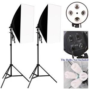 Image 1 - 50*70 см комплект освещения для фотосъемки 2 шт. 4 гнезда держатель лампы + 2 шт. софтбокса + 2 шт. 2 м осветительная стойка для внутреннего освещения фотостудии