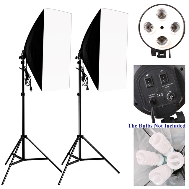 50*70 см комплект освещения для фотосъемки 2 шт. 4 гнезда держатель лампы + 2 шт. софтбокса + 2 шт. 2 м осветительная стойка для внутреннего освещения фотостудии