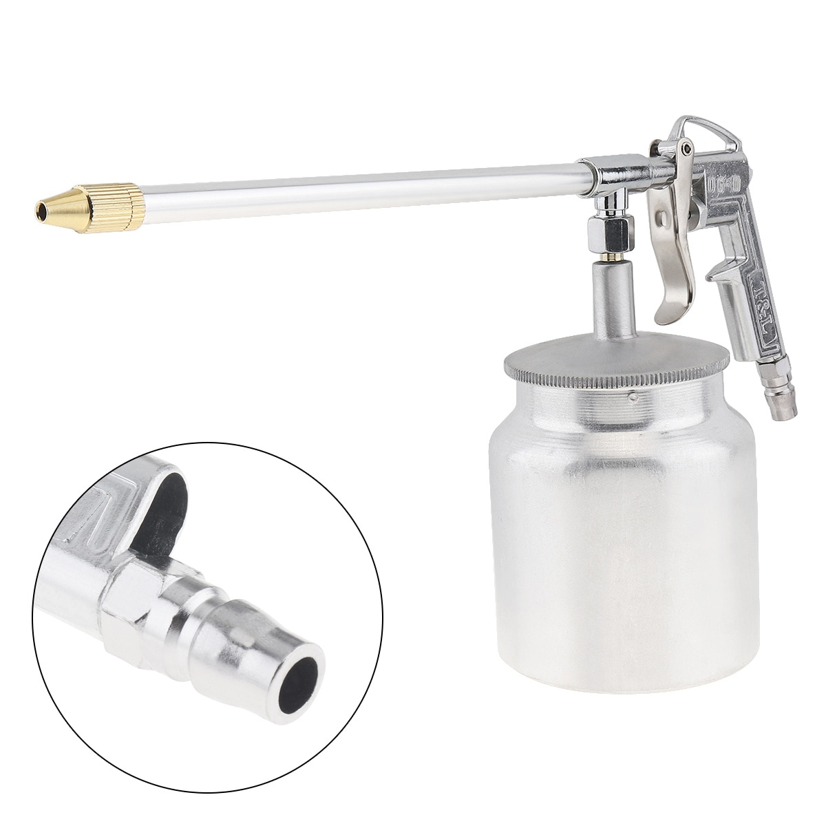 Silver Pot Type Pneumatic Spray Gun Paint Sprayer with 6mm Nozzle Caliber and Aluminum Pot for Furniture / Factory Facilities