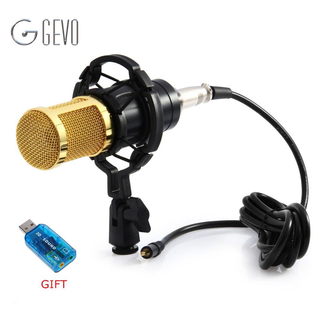 GEVO BM 800 Microfone Do Computador 3.5mm Wired Microfone Condensador De Som Com O Choque de Montagem Para a Gravação Broadcasting BM-800