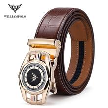 Williampolo-ceintures noires pour hommes   Ceinture en cuir véritable, pour hommes, bonne qualité, boucle automatique, ceintures Cummerbunds, #19525-27P