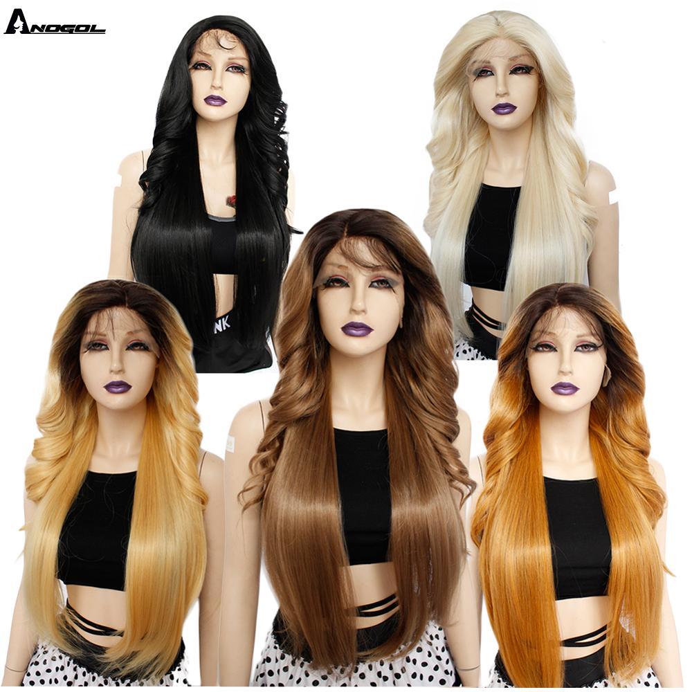 Anogol marrón de la onda larga del cuerpo sintético pelucas delanteras de encaje Futura fibra rubia para las mujeres resistente al calor negro Pre arrancado