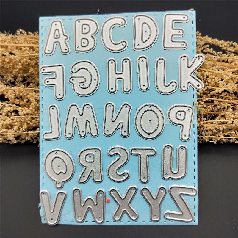 26 алфавитных штампов трафареты для рукоделия Скрапбукинг Сделай Сам прозрачные штампы стальное тиснение Ремесло Украшение папка с трафаретом