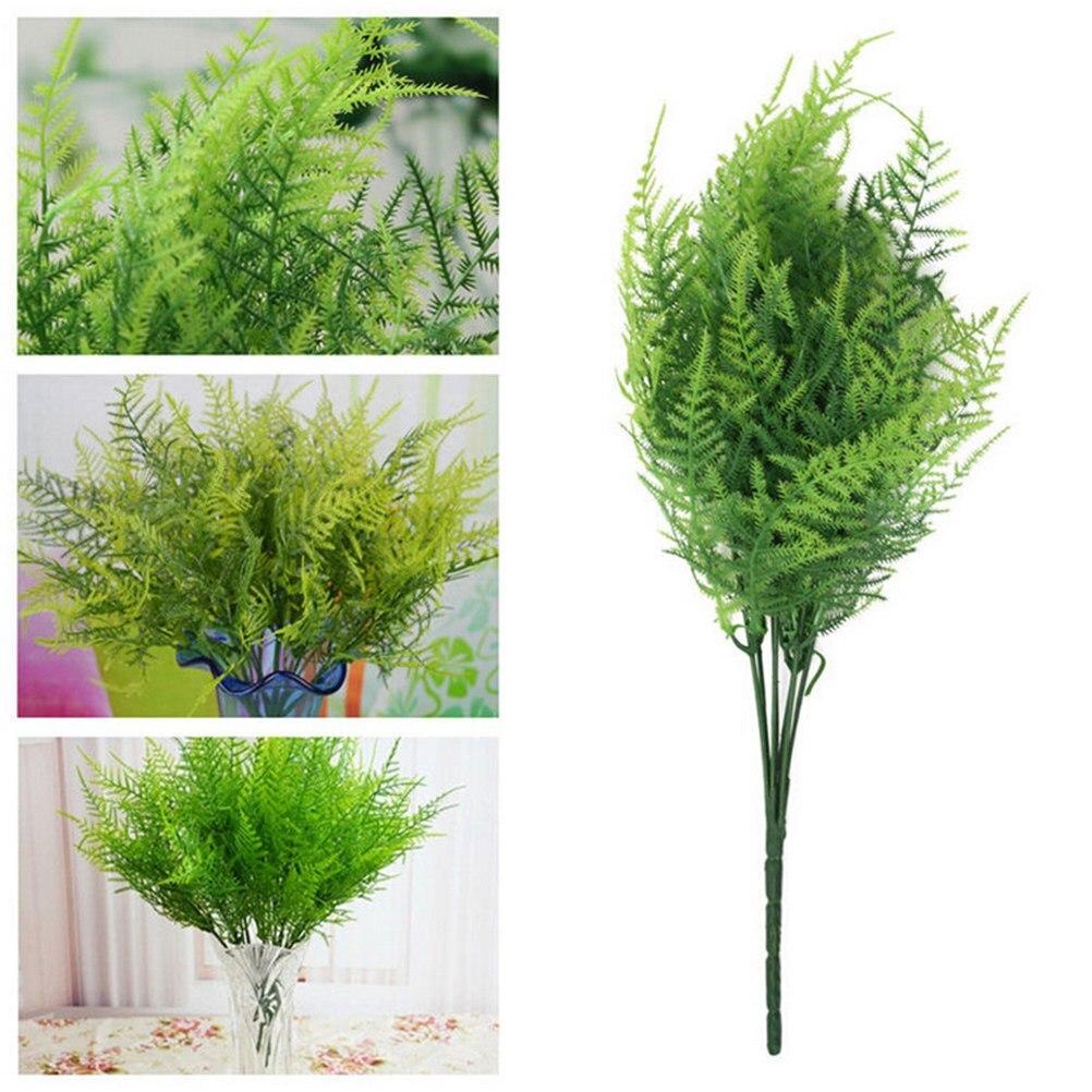 Decoración de plástico verde, 1 pieza, 7 tallos, espárragos artificiales, hierba de helecho, flores, bonsái, accesorios florales para jardín, decoración del hogar