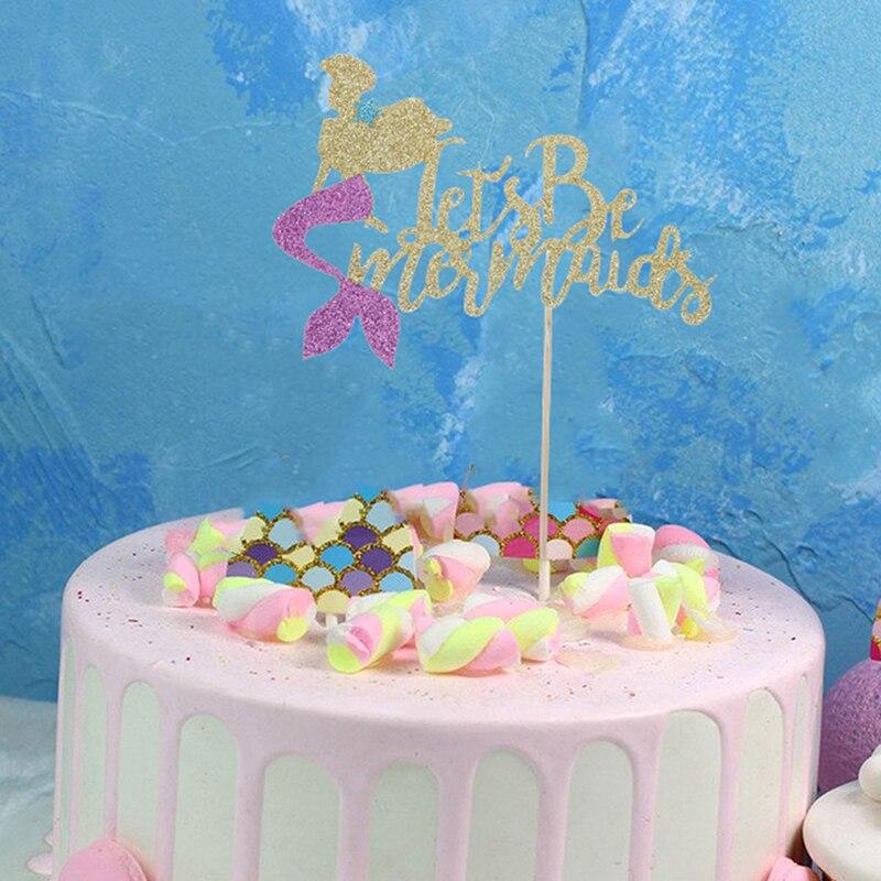 7 estilos de pastel de sirenas destello papel dorado Cupcake Bandera de baño para bebé boda cumpleaños sirenas fiesta pastel