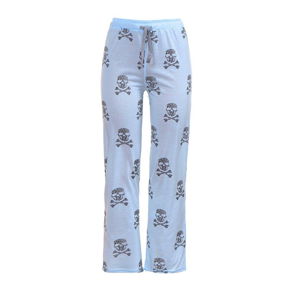 Poliéster mujer señora casual diario de alta cintura cráneo estampado pantorrilla ancha longitud pierna larga Pantalones de mujer de talla grande Harajuku pantalones c0404