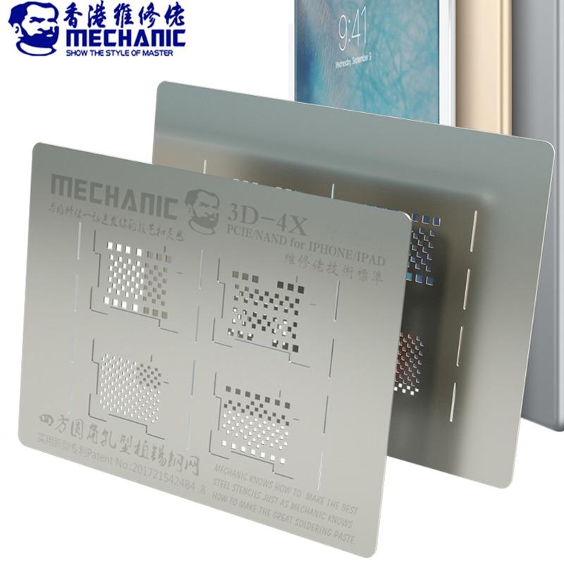 MECHANIC 3D BGA Reballing Stencil for iPad iPhone XR/XS/X/8/7/6S/6/5 Hard Disk NAND PCIE Planting Tin Template Soldering Net