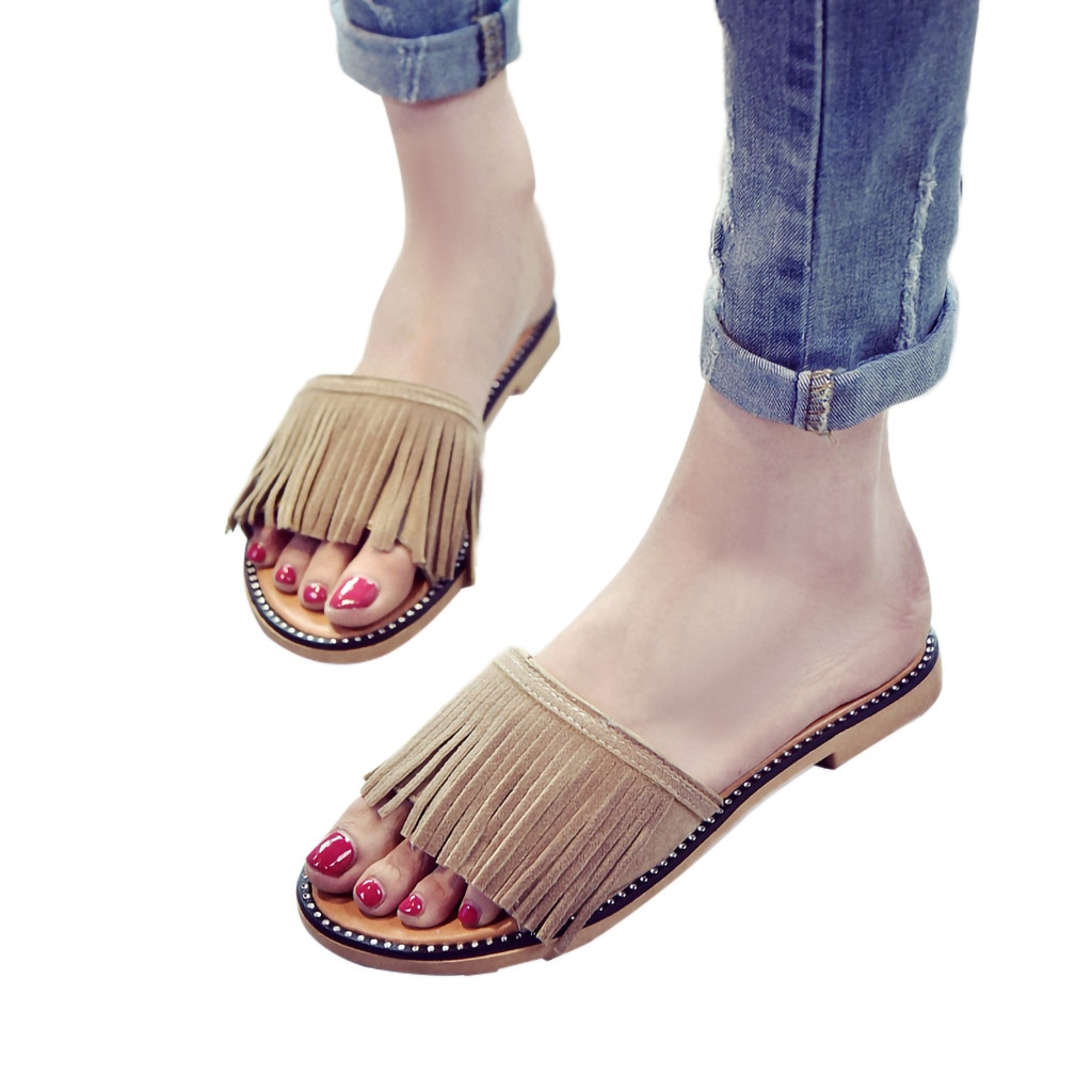 CHAMSGEND mujeres borla de moda de tacón bajo sandalias de playa zapatos de piso antideslizante zapatillas de gamuza de color sólido sandalias casual cómodas