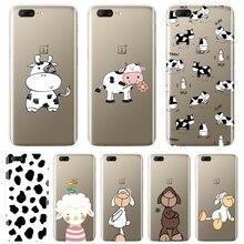 Krowa owca zwierząt koza Kawaii Cartoon miękka tylna obudowa dla OnePlus 3 3T 5 5T 6 6T etui na telefony silikonowe dla jednego Plus 6 6T 5 5T 3 3T