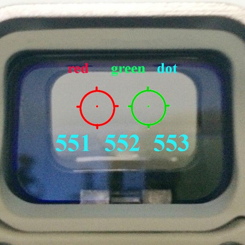 551 552 553 אדום ירוק Dot Sight היקף ציד הולוגרפי רפלקס Sight Riflescope עם 20mm הר עבור רובה Airsoft אקדח