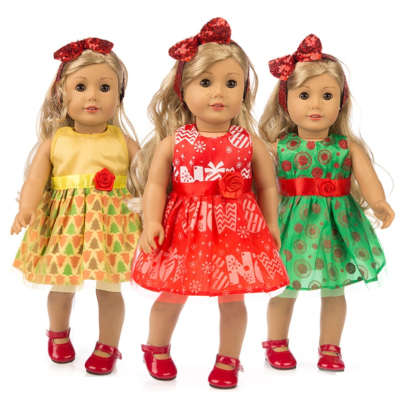Fashional Dress+Hairbrand clothes for American girl 18inch doll clothes for children best gift