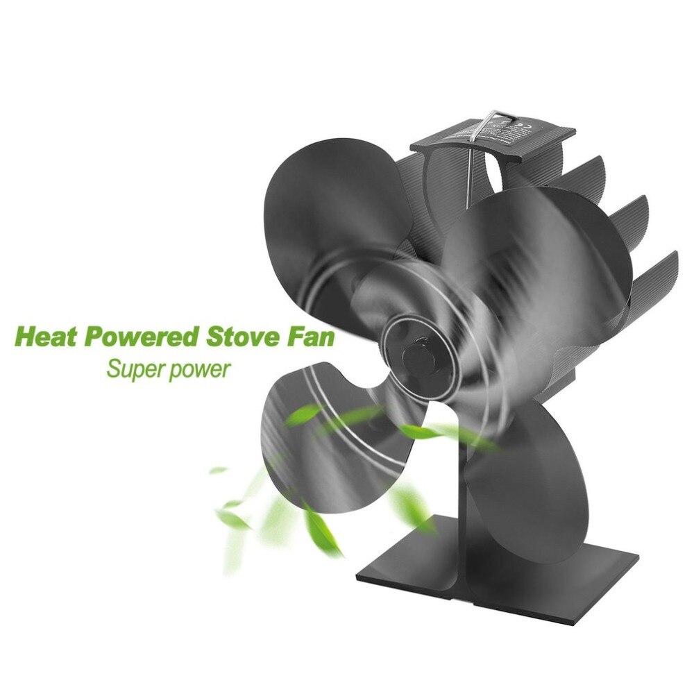 Estufa de calor con ventilador de 4 aspas para madera/quemador de troncos/Chimenea-Herramientas de calentador ecológico