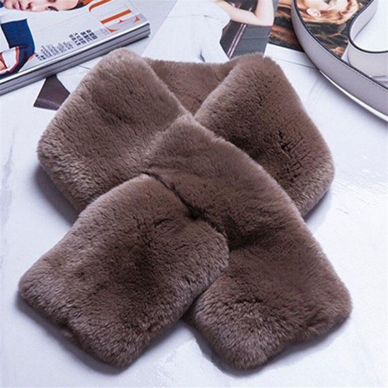 Bufanda de la señora toda la piel de conejo Rex bufanda doble...